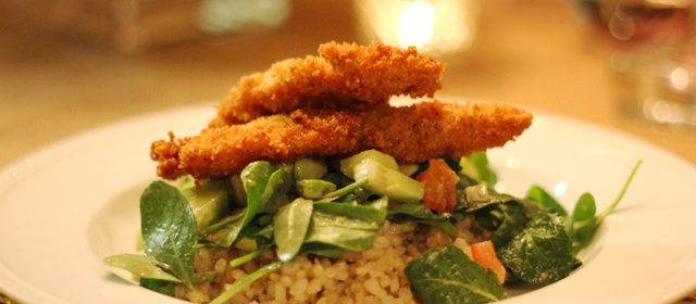 [Nibbles] :: Panko Chicken + Miso Salad + Brown Rice
